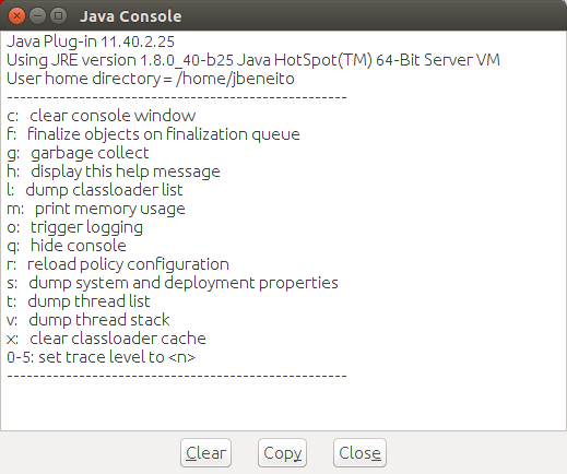 Java Console screenshot